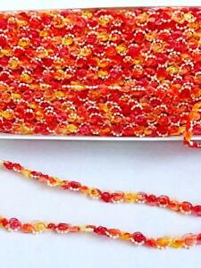 Craft-Trim-Rosebud-Organza-Pearl-Braid-5-yards-3-8-034-wide-Red-Orange-Ombre-Lot-3A