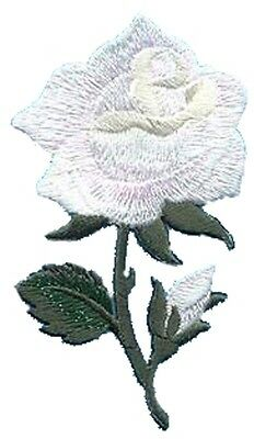Sparkly White Rose Embroidered Iron On Appliques 153106