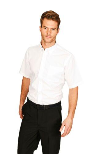 Oxford Shirt Button Collar Work Office Smart Short Sleeves White or Lt Blue