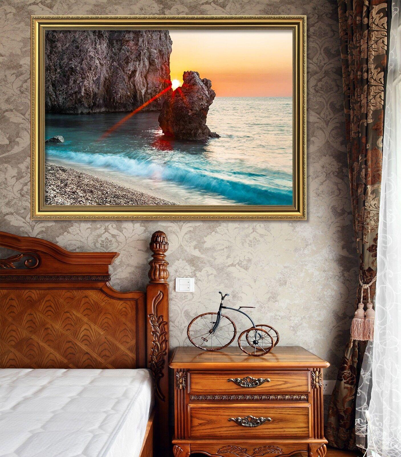 3D Seaside Stone 4 Framed Poster Home Decor Print Painting Art AJ WALLPAPER
