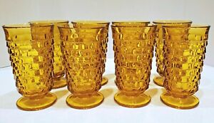8-INDIANA-Whitehall-Colony-Cubist-Cube-Amber-Harvest-Gold-Ice-Tea-Tumblers-6-034