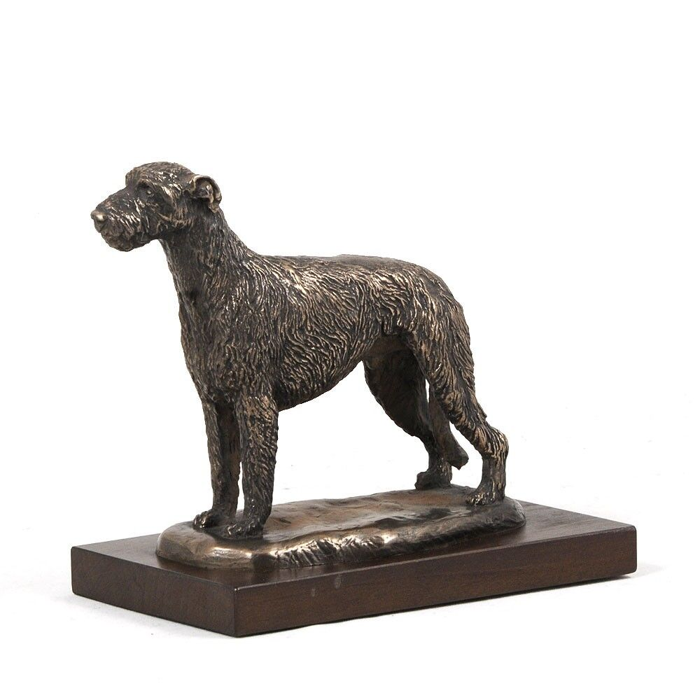 Irish Wolfhound type 2 - dog figurine on wooden base, high quality, Art Dog