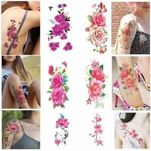 Beauty-Waterproof-3D-Flower-Tattoos-Stickers-Body-Art-Temporary