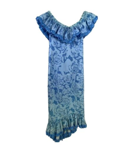 Joan Anderson Princess Kaiulani Muumuu Dress Blue