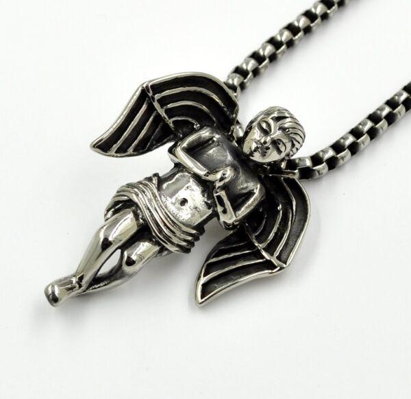 Anhänger Edelstahl Kette Halskette Angel Wing Schutzengel Ohne Mit Kette 60 Cm Hoher Standard In QualitäT Und Hygiene