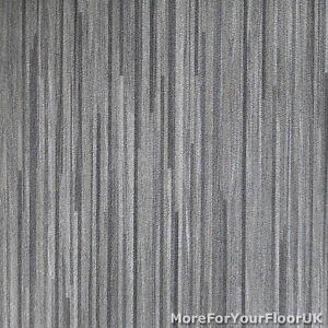 Image Is Loading Silver Grey Lines Quality Vinyl Flooring 3m 4m