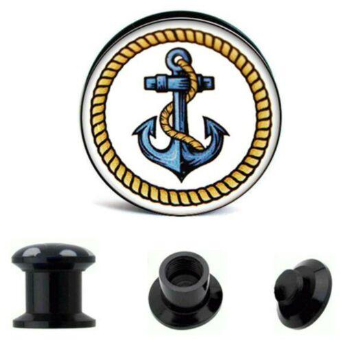 6mm-25mm oreja Plug azul marinero anclaje retro atornilla screw túnel bollos negro