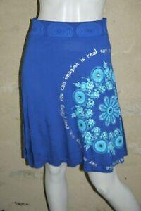 DESIGUAL-Taille-S-36-NEUF-ETIQUETTE-Superbe-jupe-bleue-et-turquoise-blue-skirt