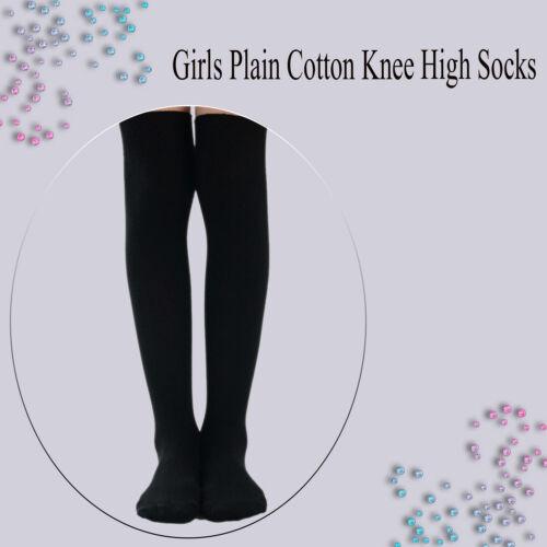 Womens /& Girls Over The Knee School Socks Black Grey White Navy UK Size 12.5-3.5