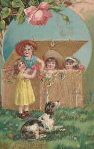 Vintage-Postcard-Valentine-Children-Play-in-Gold-Trunk-Hound-Dog-Embossed