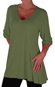 Womens-Fashion-3-4-Sleeve-V-Neck-Plain-Long-Casual-Plus-Size-Blouse-Tunic-Top