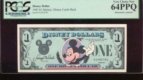 Disney Dollar 1987 $1 Mickey Mouse Castle Back Disneyland PCGS 64 PPQ