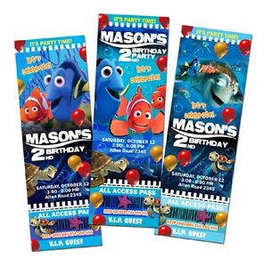Details About Finding Nemo Party Birthday Invitation Ticket Cards Custom Invites Baby Shower