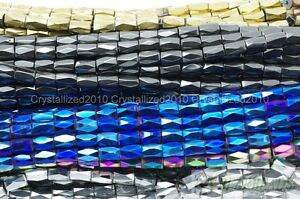 100-Natural-Magnetic-Hematite-Gemstone-Faceted-Tube-Beads-5x8mm-Metallic-Color