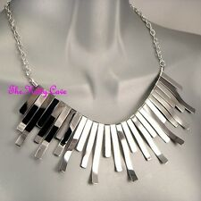 Silver Strips Bars Cleo Pharaoh Egyptian Deco Fan Collar Sunray Collar Necklace