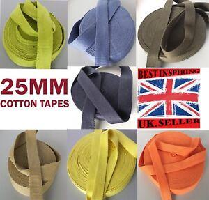 25mm-1-034-Cotton-webbing-Tape-soft-Belt-Fabric-Strap-mkhn-Bag-sewing-dress-craft
