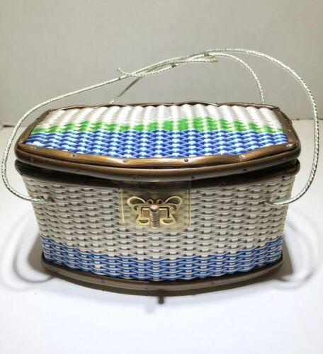 Woven Box Coated Wicker vintage basket bag Handbag
