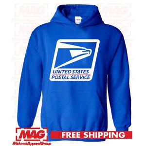 USPS LOGO POSTAL ROYAL BLUE HOODIE Post Office Employee Hooded Sweatshirt Worker