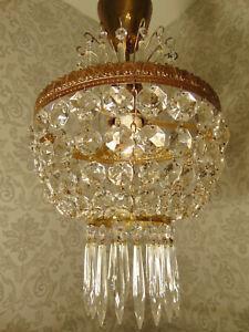 antik Kronleuchter Korblüster Lampe Plafoniere  Messing Gold Kristall ca.1930