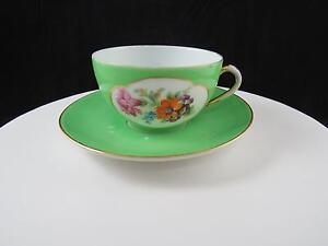 Alemania-Porcelana-Floral-amp-Verde-Banda-5-4cm-Plano-Taza-y-Platillo