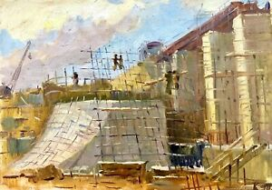 painting-art-old-Industrial-landscape-social-realism-Dneproges-construction-rare