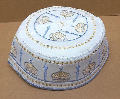 56 weiß-grün-gold 4 x Gebetsmütze Gebet Mütze Kopftuch Islam Muslim Gr