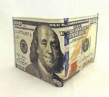 100 us dollar bill money bifold genuine leather wallet card holder