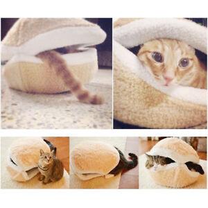 Shell-Dog-Cat-Pet-Sleeping-Bed-Bag-Nest-House-Kennel-Kitty-Hamburger-Warm-Hiding