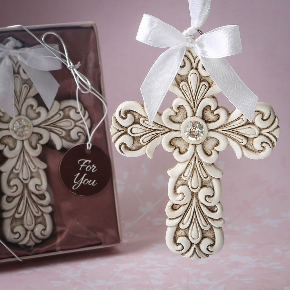 50 Baroque Cross Ornament Christening Baptism Baby Shower Religious Party Favors