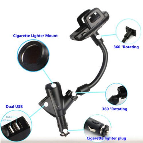 Dos puertos USB Cargador de mechero de coche Soporte Soporte de Montaje para Teléfono Celular