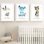 Safari-jungle-animaux-Nursery-Imprime-Set-de-3-Chambre-de-bebe-photos-Wall-Art-Decor miniature 2