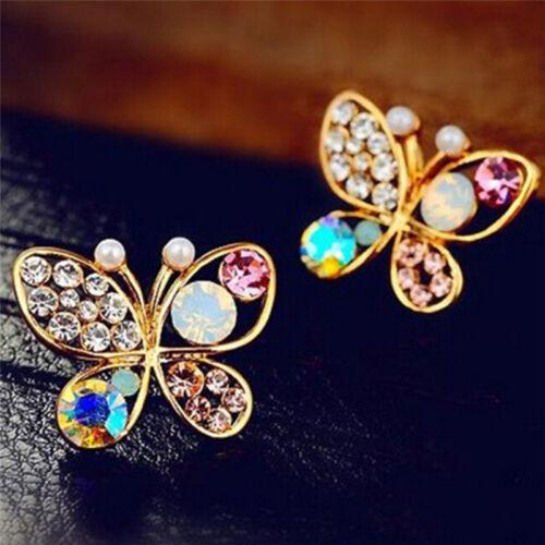 Damen Kristall Strass Hohl Schmetterling Ohrstecker Ohrringe Geschenk BC