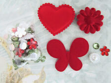 60+80 Red Felt/Satin Flower/Butterfly/Heart Fabric Applique/Holiday/Jewel L64