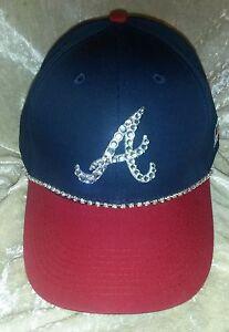 be235ef29c3ad ... best image is loading atlanta braves mlb womens rhinestone bling  baseball hat 87db6 45f29