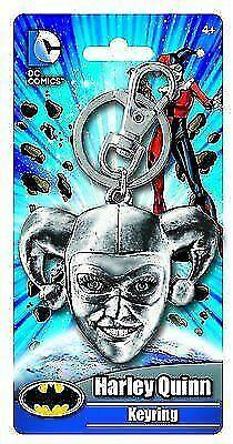 Harley Quinn 3-D Head Grey Metal Pewter Keychain NEW UNUSED DC Comics Batman