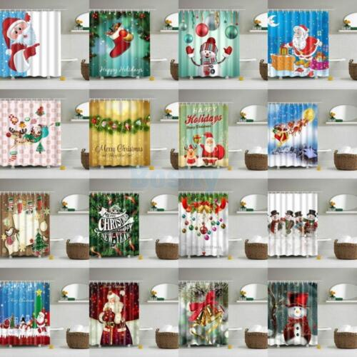 Christmas Print Waterproof Polyester Bathroom Shower Curtain Decor With Hooks
