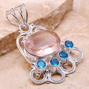 STUNNING-KUNZITE-TOPAZ-GERMAN-SILVER-PENDANT-1-3-4-INCHES