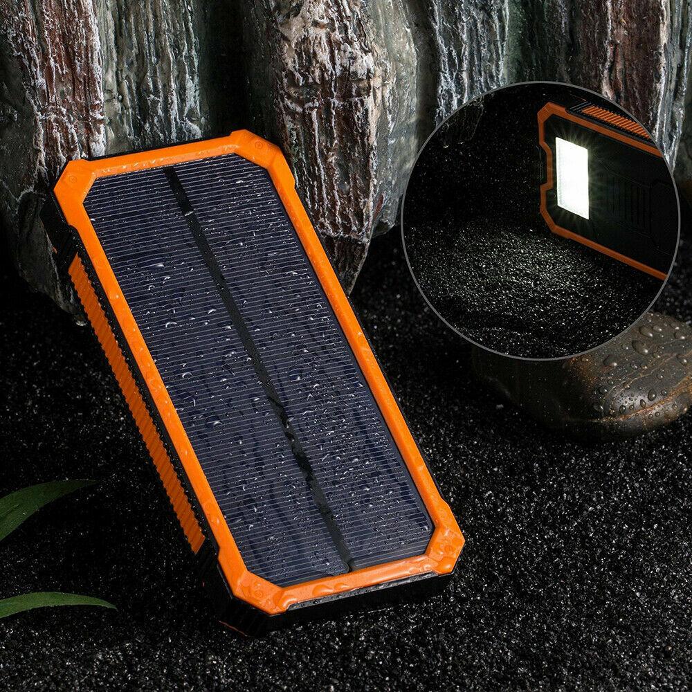 Tragbare Solar Power Bank 100000mAh Batterie Ladegerät 2USB Charger mit LED