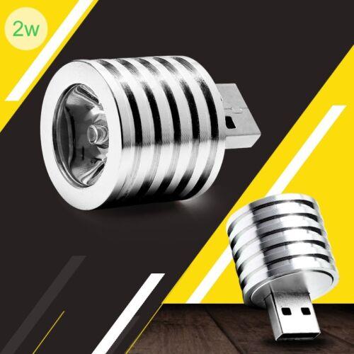 NUOVO 2W Portatile Mini USB Led Lampada Riflettore MOBILE POWER Torcia Elettrica Argento