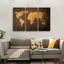 Framed Painting Picture World Map Canvas Prints Wall Art Ready To Hang Home Deco