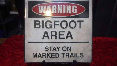 Warning Bigfoot Area Stay On Marked Trails Embossed Tin Sign,Sasquatch Big foot