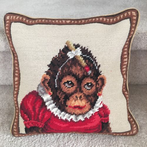 New Special Baby Monkey Design 100/% Wool Petite Needlepoint Handmade Pillow 12/""