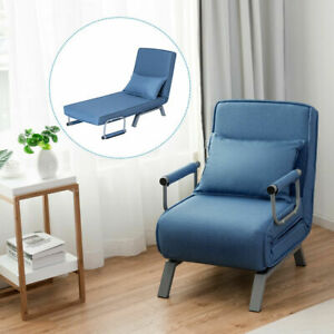 Folding-Sofa-Bed-Sleeper-Convertible-Armchair-Lounge-Couch-5-Position-w-Pillow