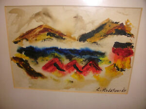 Details About 1964 Listed Detroit Artist Louis Redstone Abstract Mid Century Watercolor