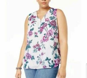 aacb28533e4150 INC Lined Floral Tank Top Womens Plus Size 0X 1X 2X 3X Half Zip ...