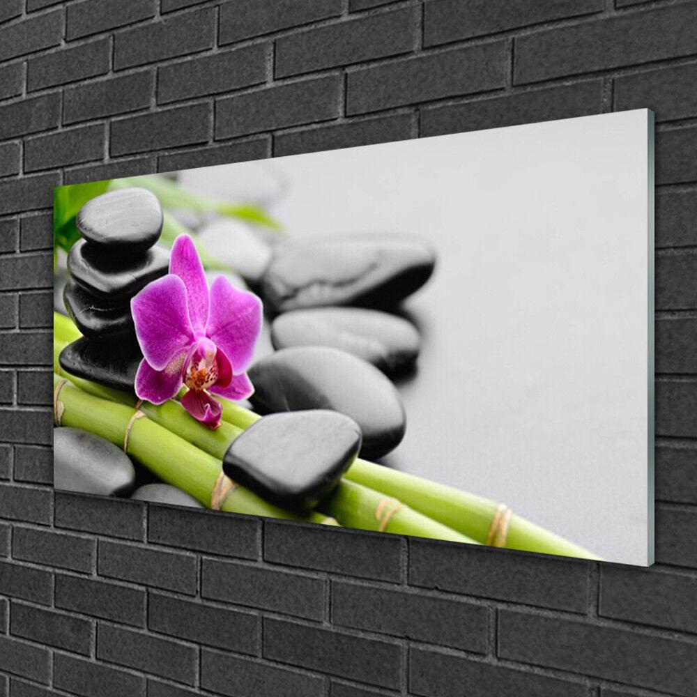 Image sur verre acrylique Tableau Impression 100x50 Art Pierres Fleurs Bambou