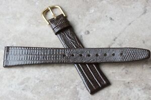 Tapered-shape-Long-teju-lizard-grain-19mm-Leather-vintage-watch-strap-1950s-60s