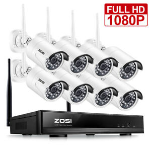 ZOSI Wireless Security IP Camera System 1080p WIFI 8 Channel NVR 2MP Outdoor Kit