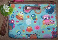 Lily Bloom Blue/pink Owl Always Love You Tristin Wristlet/clutch Purse Bag