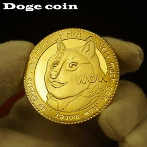 999 Gold Plated Dogecoin Commemorative Virtual Coins Cute Dog Pattern Dog Year